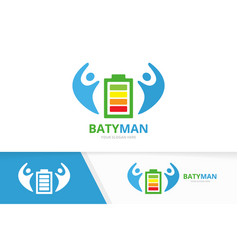 battery and people logo combination energy vector image