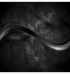Black smooth wave on dark grunge background vector