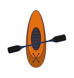boat with oars cartoon topview blue lines vector image