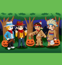 Boys dressed up as cowboys and native americans vector