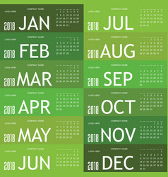 calendar green for 2018 vector image