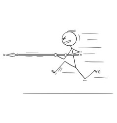 cartoon of man or businessman running charging or vector image