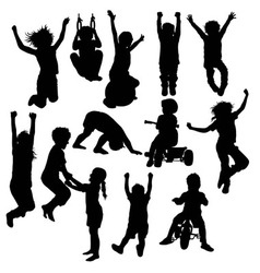 Children Plying Activity Silhouettes vector
