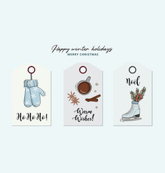 christmas hand-drawn greeing card with gloves hot vector image