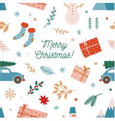 Christmas holiday flat seamless pattern vector