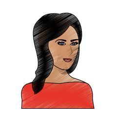 color pencil cartoon half body woman with long vector image