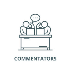commentators line icon commentators vector image