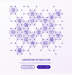 conversion optimization concept in honeycombs vector image