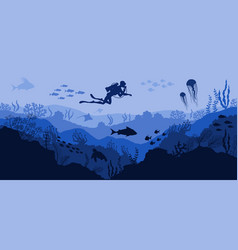Coral reef and underwater wildlife diver vector