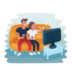 Couple watching retro tv set vector