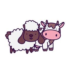 Cow and sheep farm animal cartoon vector