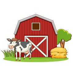 Cute cow standing on farmyard vector