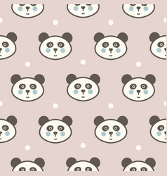 cute panda head seamless pattern for baby vector image
