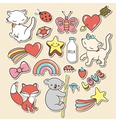 Cute stickers collections isolated with white vector