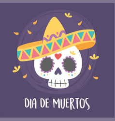 day dead skull with hat and flowers vector image