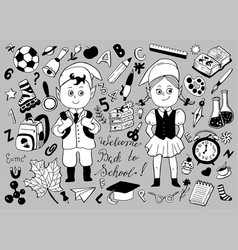 design set with schoolchildren and objects vector image