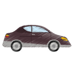 Drawing car sedan vehicle transport vector