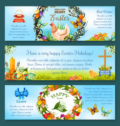 Easter eggs spring holidays banner template design vector