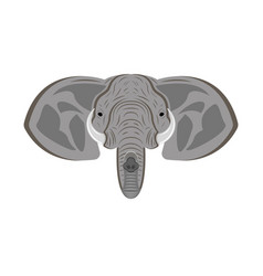 elephant head with ears trunk and tusks animal vector image