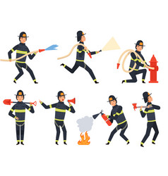 fireman characters rescue firefighter saving vector image