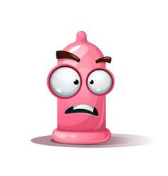 funny cute crazy condom sad smiley vector image