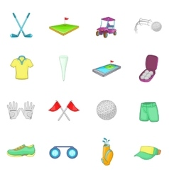 Golf icons set cartoon style vector image