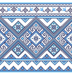 Handmade cross-stitch ethnic Ukraine pattern vector