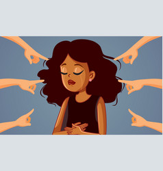 Hands pointing to a crying african woman vector