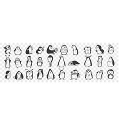Happy penguin birds doodle set vector