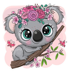 Koala with flowers on a tree on a pink background vector