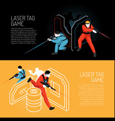 Laser tag isometric banners vector