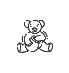 line art icon bear eats honey from a clay pot vector image