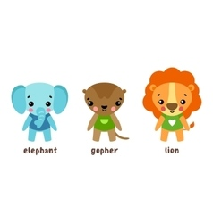 Lion and animal gopher cartoon characters vector
