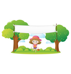little girl and white banner in park vector image