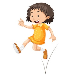Little girl in yellow skirt jumping vector