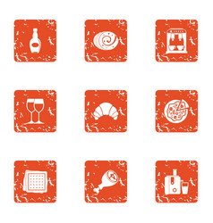Love song icons set grunge style vector