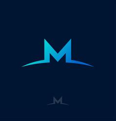 M logo monogram blue letter vector