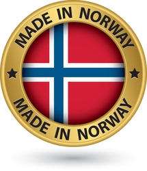 Made in Norway gold label with flag vector