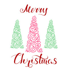 Merry christmas and tree vector