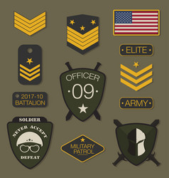military army badge set typography t shirt vector image vector image