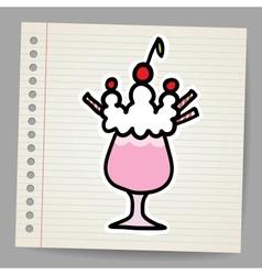 Milkshake with cherry vector