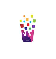 mobile app phone pixel logo vector image