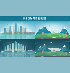 modern city with suburban landscape building and vector image