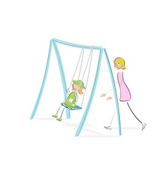 Mom pushing daughter on swing vector