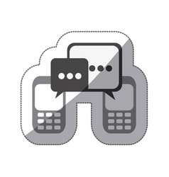 Monochrome silhouette sticker of cell phones vector