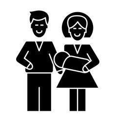 mother and father with baby icon vector image