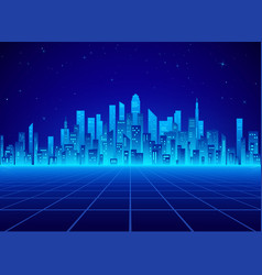 neon retro city landscape in blue colors vector image