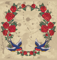 old school frame with roses and birds background vector image