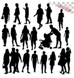 people walking outdoor silhouettes set vector image