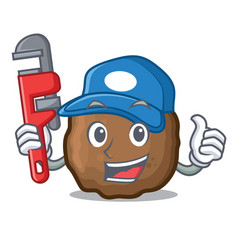 Plumber meatball mascot cartoon style vector